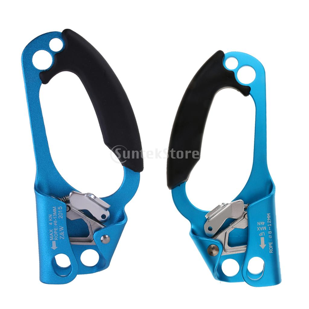 2 Pieces Outdoor Rock Tree Climbing Left and Right Hand Ascender for 8 mm-12 mm Rope цена
