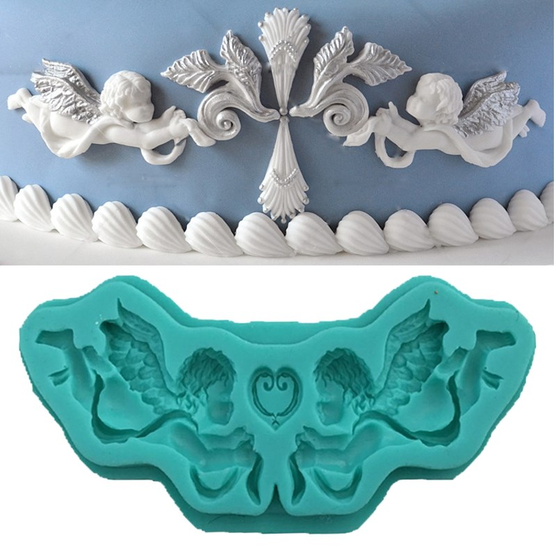 NEW 3D Baby Angles Silicone Cake Fondant Mold Baby Shower