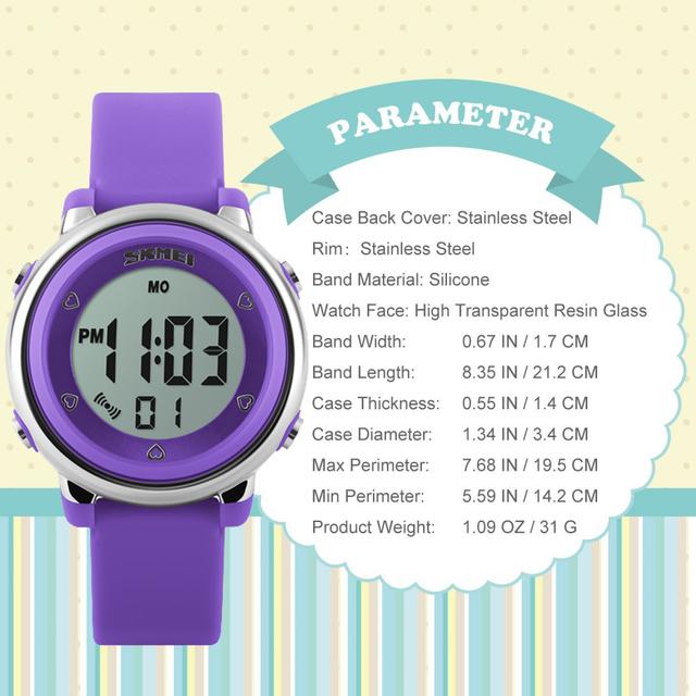 SKMEI New Fashion Sports Children Watches Waterproof Alarm Watch Kids Back Light Calendar Digital Wristwatches Relogio Infantil