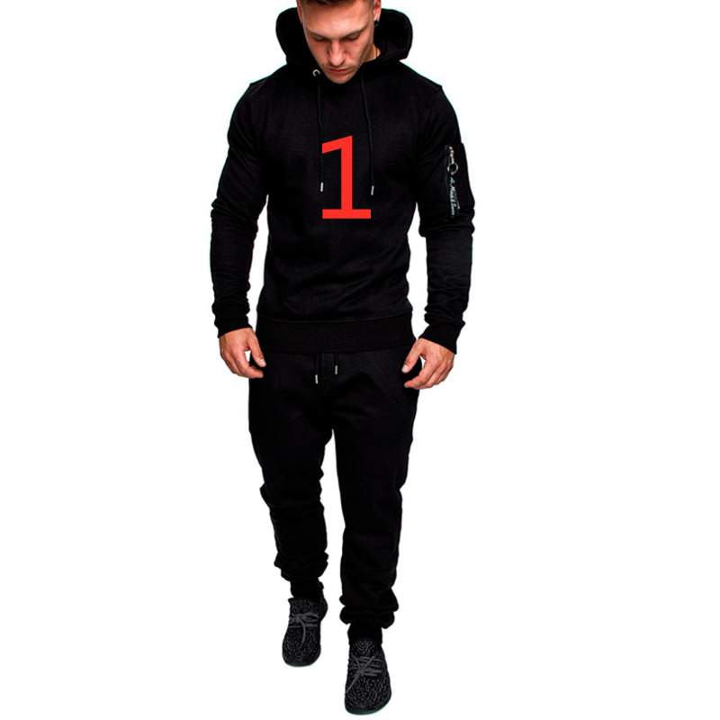 1 For Men's Pullover Harajuku Costum Any Logos Tracksuit Army Green Two Pieces Sets Hoodies+Outwear Pants Suits Male Sweatpants