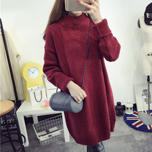 Women Long Sleeve Turtleneck Knitted Coat Jacket Outwear Loose Sweater 2017 Spring Autumn Casual Sweater Pure Color 4 Colours