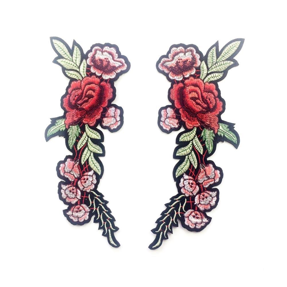 1 двойка бродирани рози цвят кръпка - Изкуства, занаяти и шиене - Снимка 2