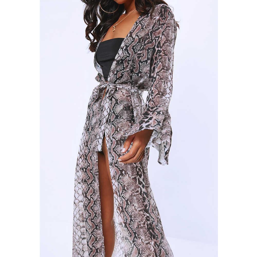 2019 女性着物カーディガンシフォンヘビ皮粒印刷ショールロングトップカバーアップブラウス特大コートビーチウェア