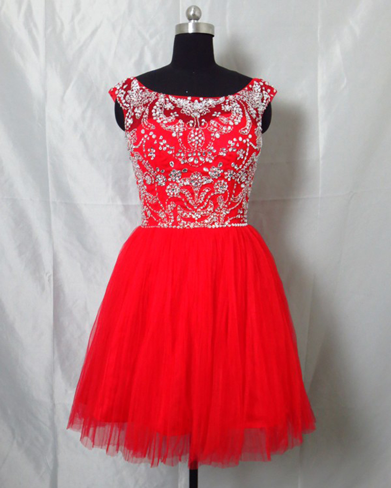 9d1f4b01458 Sexy Short Prom Dress Abendkleider Crystal 2015 Beaded Red Tulle Prom Gowns  Sweet 16 Dresses 8th