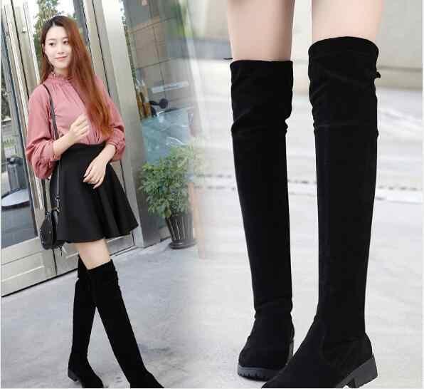 Sonbahar Kış Kadın Çizmeler Streç Ince Uyluk Yüksek Çizmeler Moda Diz Üzerinde Çizmeler Takozlar Ayakkabı Kadın ayakkabı