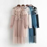 Litfun 2018 Spring Summer Vintage Female Flower Sweet Gauze Lace Party Dress Women Retro Long Sleeve