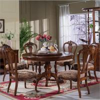 Stil Italienischen Esstisch runde Massivholz Italien Stil Luxus Esstisch set mit 6 stühle p10279-in Esszimmer-Sets aus Möbel bei