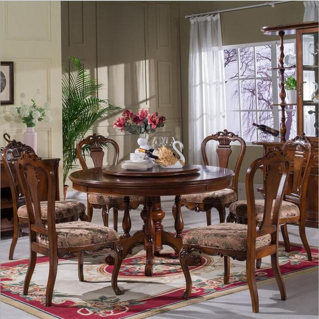 Style Italian Dining Table Round Solid Wood Italy Luxury Set With 6 Chairs P10279