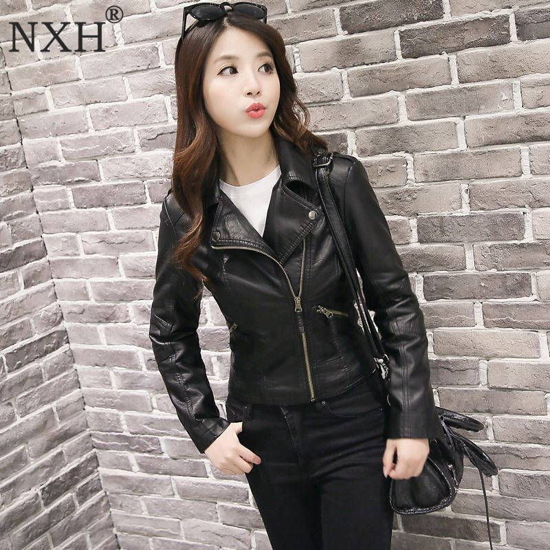 NXH 2018 Real photo New Winter autumn Good Quality Womens PU   Leather   jacket Ladies Slim Short Faux Soft Slim streetwear coat