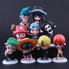 9pcs/set  69 generation Q style ONE PIECE straw hat Luffy Usopp nami sanji Stand action figure collectibles doll toy for gifts