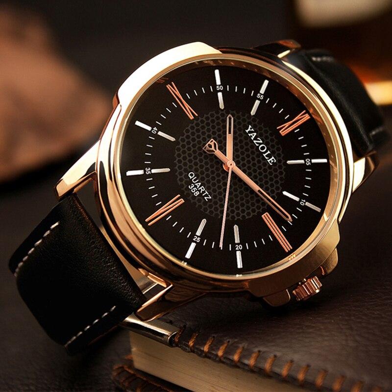 Yazole бренд класса люкс известный Для мужчин часы Бизнес кожа часы мужской часы Мода Досуг Платье Кварцевые часы Relogio Masculino