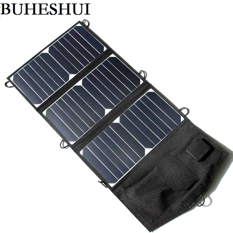 BUHESHUI 21W Foldable Solar Panel Charger For iphone Solar Battery Charger Dual USB Sunpower Panel High Quality Free Shipping free shipping 1pc lot 18w 18v foldable solar battery charger for laptop with usb voltage controller for mobilephone mp3 psp