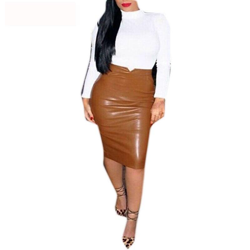 Europe Style Women Sexy Bandage Skirt Solid Color High Waist PU Leather Midi Pencil Skirts OL Casual Slim Long Skirt Clubwear semi formal summer dresses