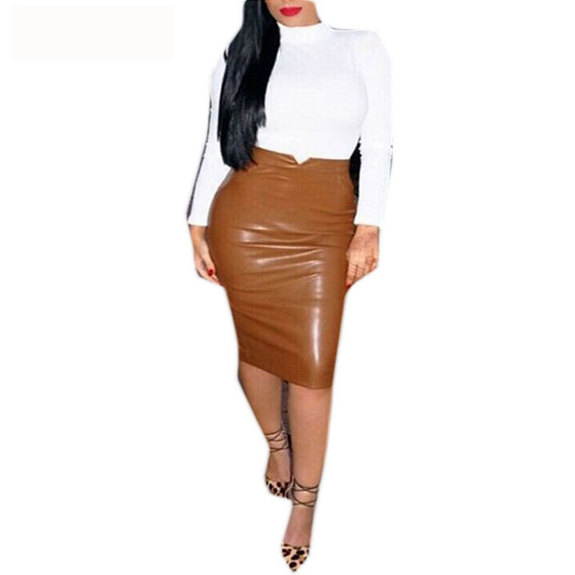 Europe Style Women Sexy Bandage Skirt Solid Color High Waist PU Leather Midi Pencil Skirts OL Casual Slim Long Skirt Clubwear