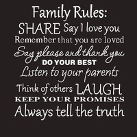 Family Rules Wall Stickers Home Decal Removable Mural Decor Vinyl DIY Wall Stickers Home Decor Living