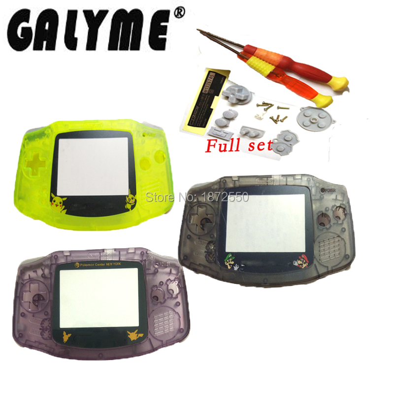 Galyme Hot Sale Multi-Color Choose Replacement Housing For GameboyAdvanceGBA Cartoon Full Set Lens shell Game Console Boy Gift