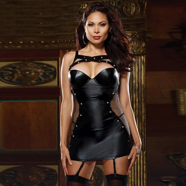 Erotic Lingerie Nightclub Wear Plus Size Leather Dress