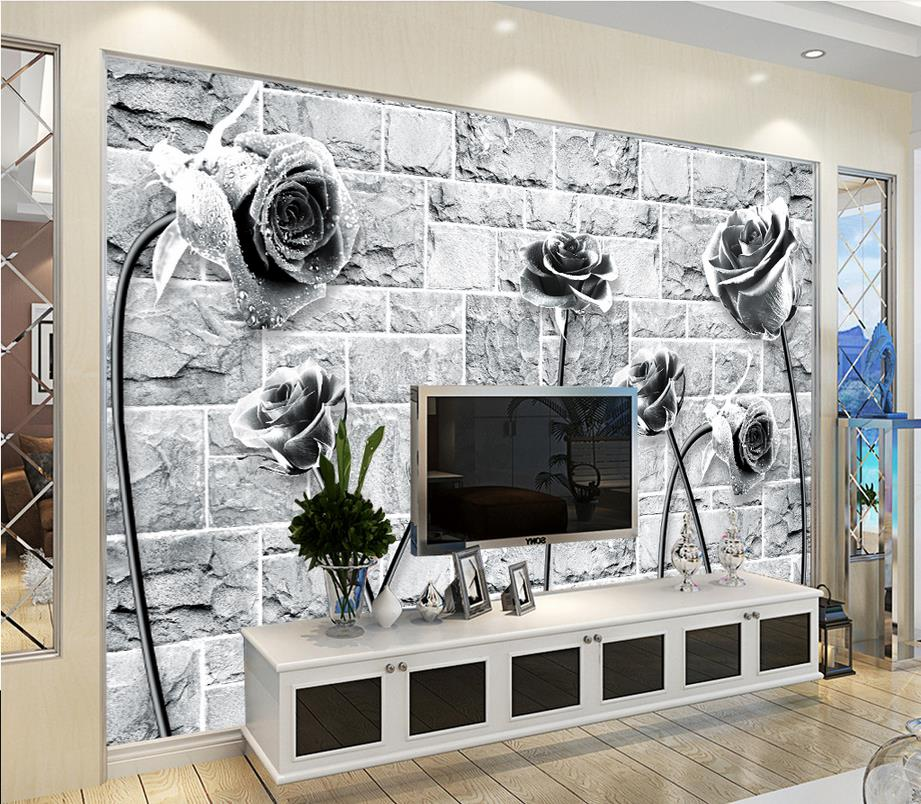 Home decoration custom 3d photo wallpaper black and white for Black 3d brick wallpaper