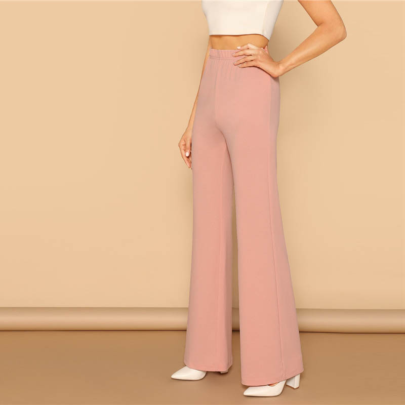 Pink Elastic High Waist Straight Leg Solid Long Pants