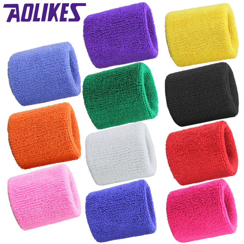 AOLIKES 1PCS Wrist Support Brace Wristband Gym Protector Basketball Tennis Polyester Cotton Sweatband Wrist guards