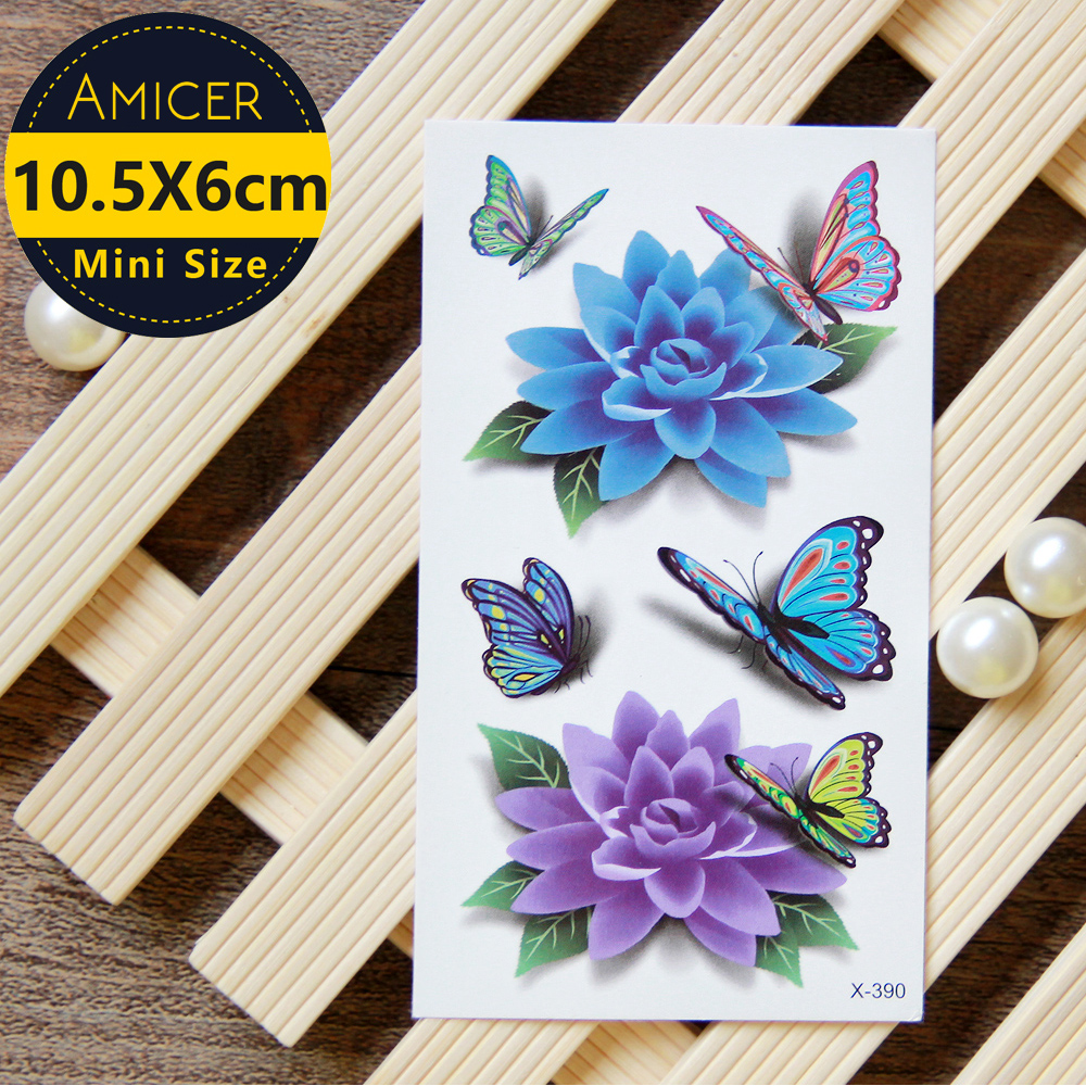 Blue Lotus Butterfly 3d Temporary Tattoo Body Art Flash Tattoo Stickers  Waterproof Henna Tattoo Selfie Fake Tattoo Sticker