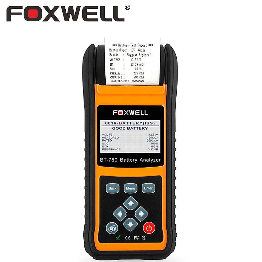 FOXWELL BT780 12V Battery Tester 0 1000A Car AGM GEL EBP Batteries Analyzer Built in Printer