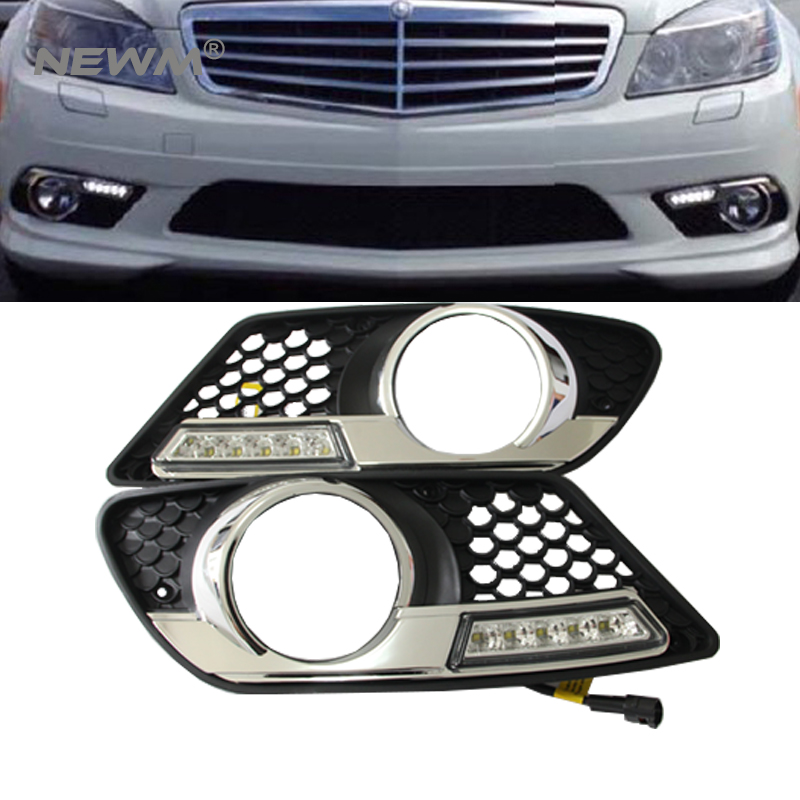 Direct-Fit LED Daytime Running Light For Benz W204 C300 C350 2008 2009 2010 2011 DRL Fog lamp led daytime driving running fog light lamp for mercedes benz w164 ml350 ml280 ml300 ml320 ml500 2009 2011 drl