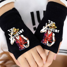 NEW Anime One Piece Monkey D Luffy Half-fingered Gloves Cosplay Costumes Glove Warm Cotton Knitted Cool Mittens(China)