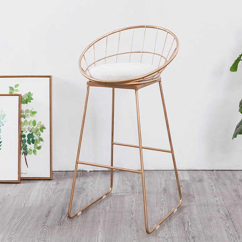Free Shipping U-BEST Unique Simple Design Round Hollow Iron Stool,salon Chair Stool With Hollow Seat Bar Stool