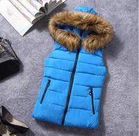 Winter Vest Children girls Jacket Coat Down Cotton Casual Hooded big virgin Fur Vests waistcoat kids Fashion Outwear