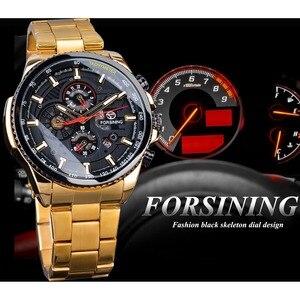 Image 3 - Forsining 2019 Classic Black Golden Klok Mannelijke Steampunk Sport Serie Compleet Kalender Mannen Automatische Horloges Top Merk Luxe