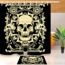 LB Retro Pirate Skull Extra Long Black Shower Curtain And Bath Mat Set Waterproof Halloween Bathroom
