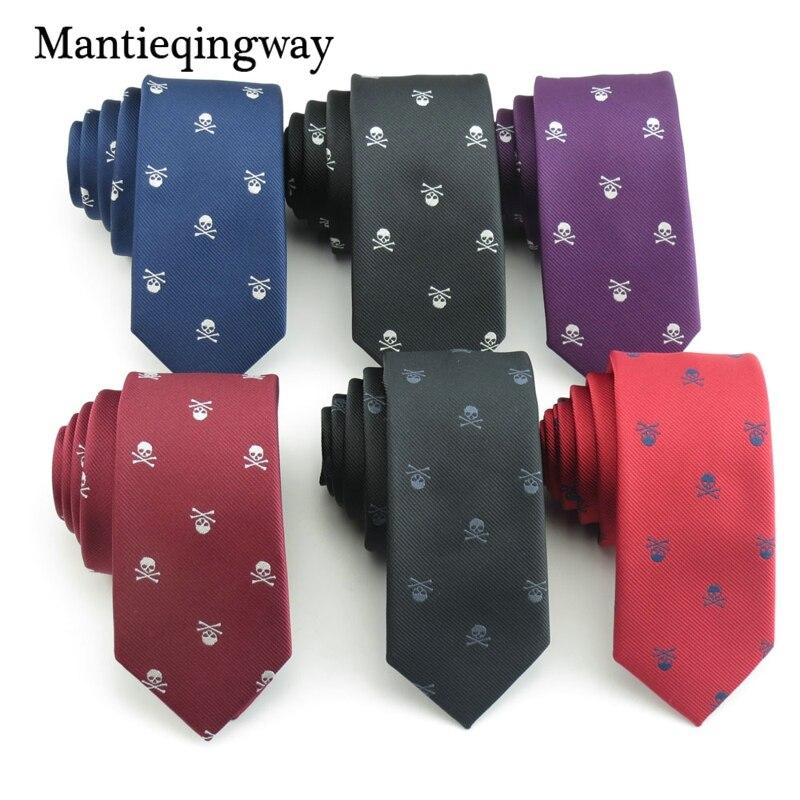 Mantieqingway Brand Skull Pattern Ties For Men's Slim Neckties Polyester Jacquard Skinny Neck Tie Wedding Corbata Gravata Ties