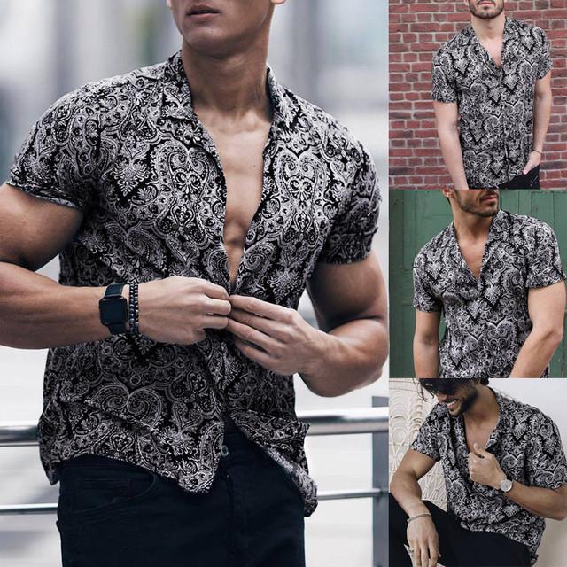 Feitong Men Shirt Multi Color Lump Chest Pocket Short Sleeve Round Hem Loose Shirts Camisas masculina Black shirt