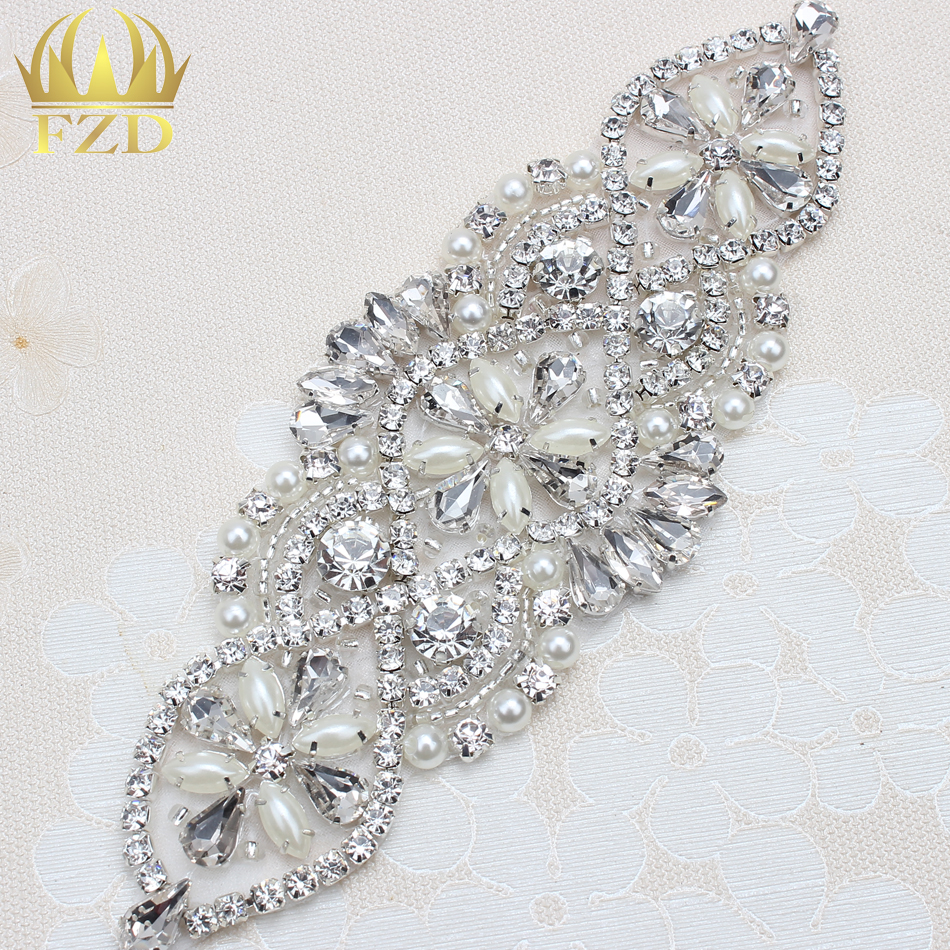 (1piece) Handmade Beaded Sewing Iron on Sliver Crystal Wedding Bridal Belt  and Sashes Rhinestone Pearl Applique Patches-in Rhinestones from Home    Garden on ... 2a38c6cd8065