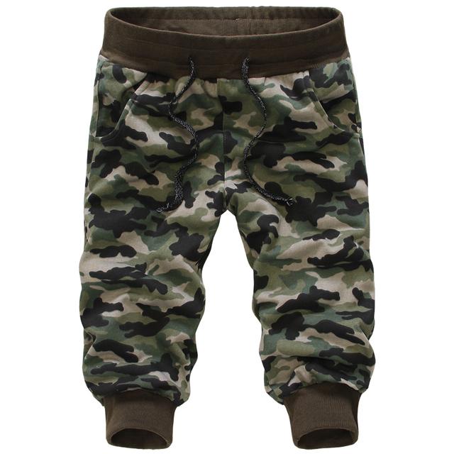 Camuflagem Homens Calças curtas Casual Bezerro quente-comprimento Calças Dos Homens Jovens Corredores Militares Pantalon Homme (Asian Size)