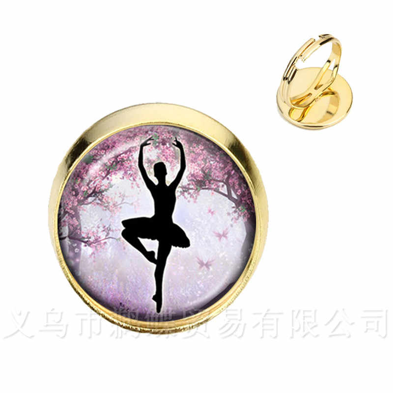 Ballerina Silhouette Glass Dome Rings Dancing Ballerina Silver/Golder 2 Color Plated Adjustable Rings Jewelry Gift