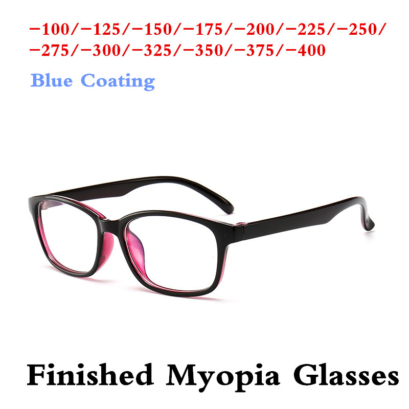 Purple Black  Anti Blue Computer Men Women Finished Myopia Lenses Nearsighted Glasses For Young-1.0 -1.25-1.5-1.75 -2.0 ~ -4.0
