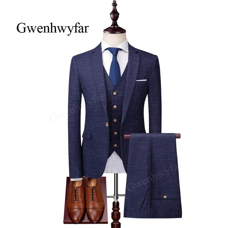 Gwenhwyfar 2018 Herbst Neue Kerbe Revers Männer Anzüge Blau Karierten Mode Terno Masculino Slim Fit Einreiher Anzüge Formale Blazer-in Anzüge aus Herrenbekleidung bei  Gruppe 1