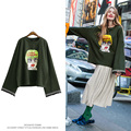 [CHICEVER] Spring Solid Character Flare Sleeve O-neck Big Size Loose Pullovers Women Sweatshirt New Fashion Clothing
