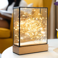 New arrival Cross section square lamp Nordic fire tree silver flower birthday Christmas gift creative night light LED table lamp