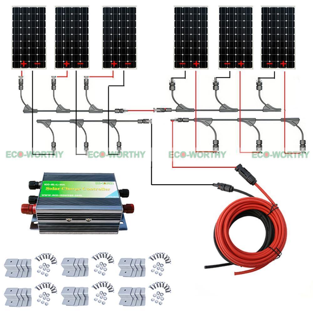 ECO 6PCS 100W Mono Solar Panel 600W 24V off Grid Battery Power Charge Cmping RV eco sources 150w 12v rv mono solar panel monocrystalline solar panel for home solar system12v battery off grid