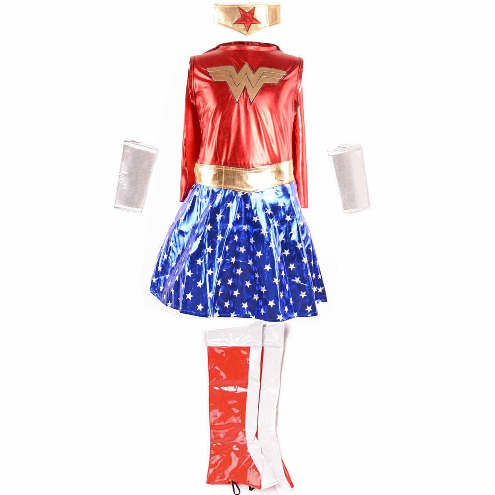 Kids Wonder Woman Dress Girls Costume Deluxe Shiny -8421