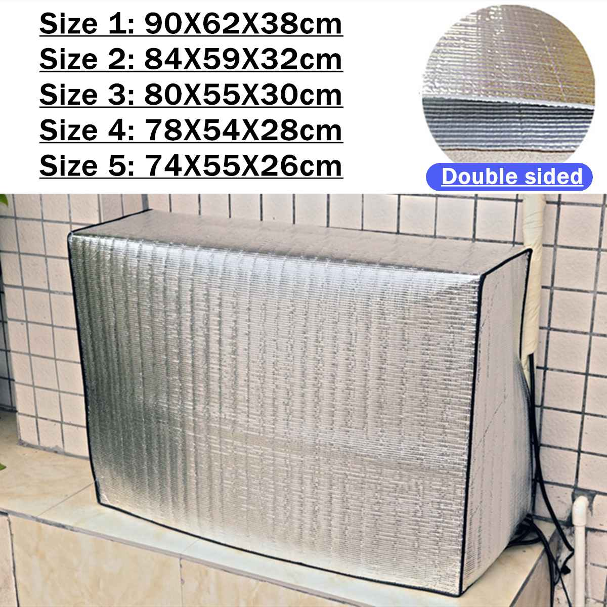 5 Sizes Air Conditioner Dust Cover Protector Double Sided Outdoor Hood External Waterproof Sunproof Clean Protective Cover