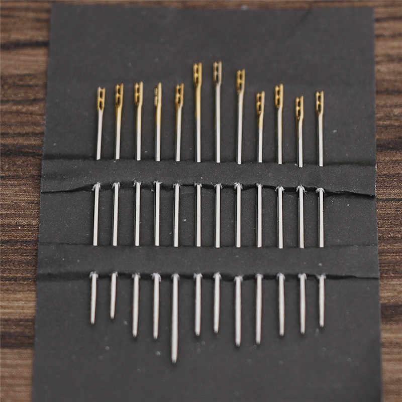 12 قطعة المسنين إبرة الجانب ثقب Bodkin خيوط اليد الخياطة الإبر المنزلية DIY بها بنفسك الملابس الخياطة النسيج أدوات