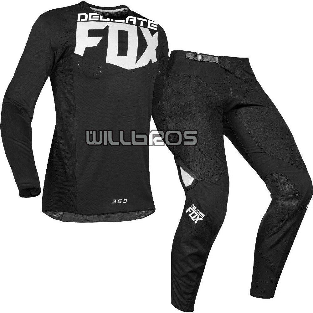 2019 délicat Fox moto MX 360 Kila Jersey pantalon Motocross Dirt bike vtt vtt adulte course Gear Set noir
