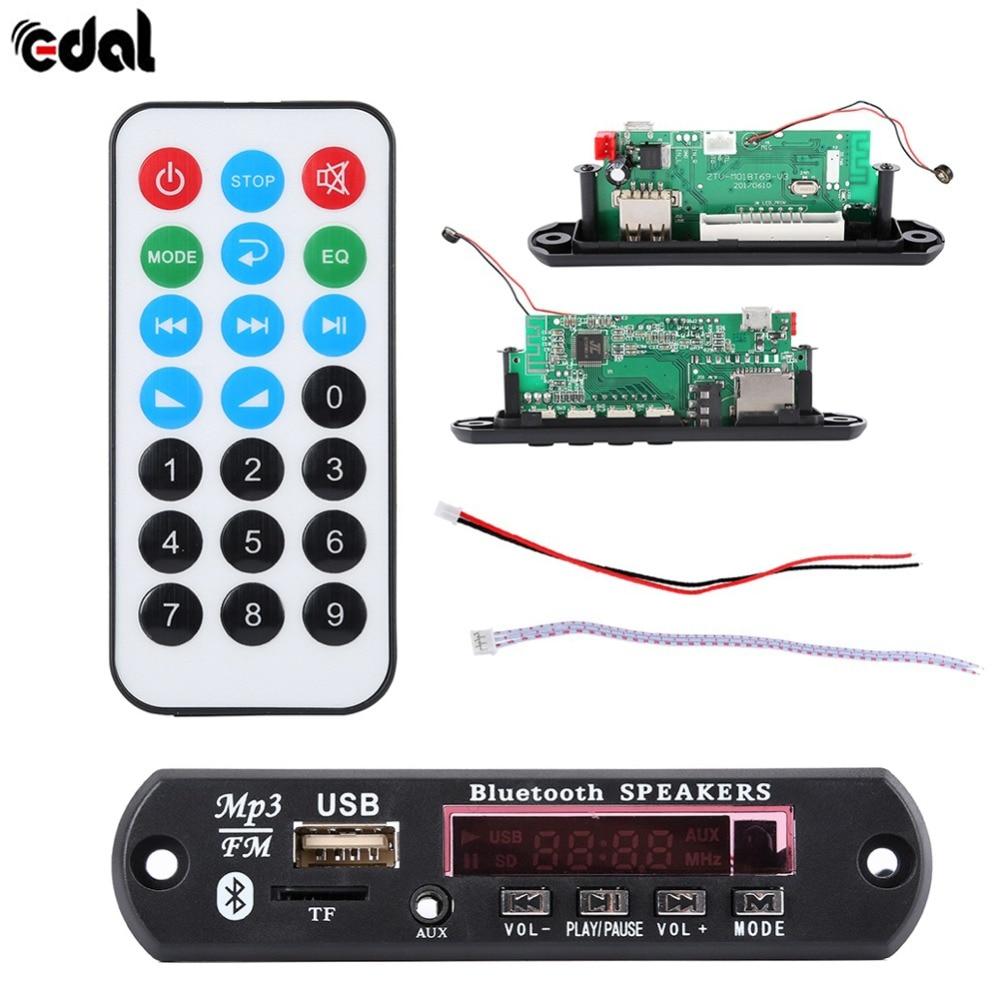 EDAL Useful Wireless Bluetooth 12V 5V Micro USB MIC 3.5MM AUX FLAC MP3 WMA Decoder Board Audio Module USB TF Radio For Car