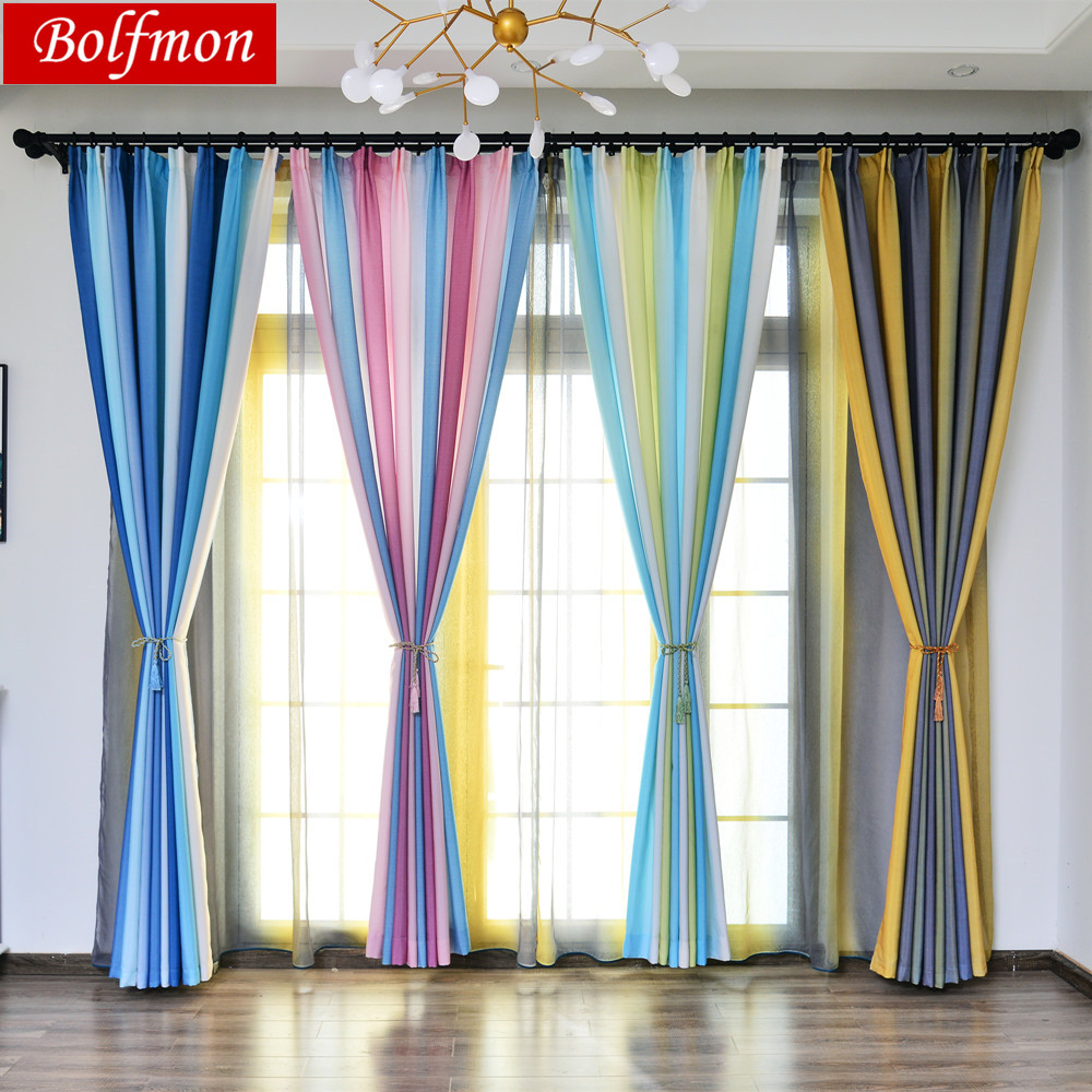 Colorido arco-íris bela janela cortina para sala de estar 3d verde azul tule tratamentos janela elegante cortinas quarto