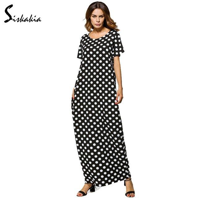 Siskakia קיץ 2018 גבירותיי loose מקרית ארוך חלוק לבן דוט כיס עיצוב שחור ארוך מוסלמי שמלת העבאיה בגדים טורקיה
