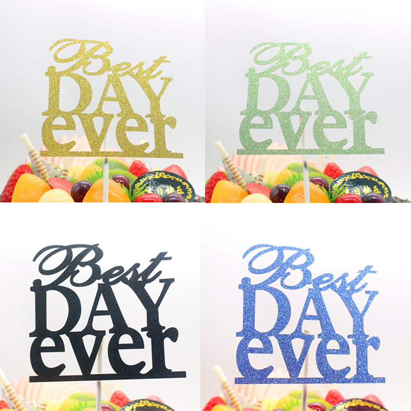 1pc Best Day Ever Cake Topper Glitter Cake Flags Gold Silve Topper Wedding Birthday Party Cake Baking Decor Topper Flags